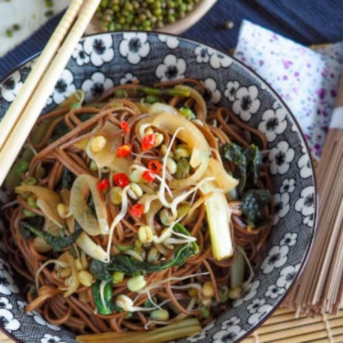 Soba spicy noodles with sprouts and vegetables