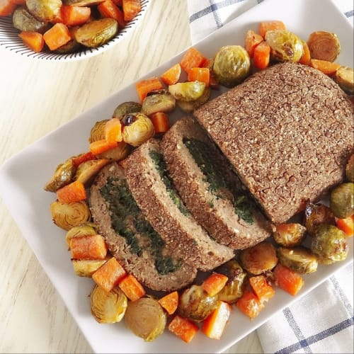 Pastel de carne de lentejas rellenas