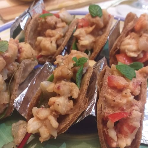 Shrimp and lychee tacos