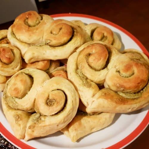 Bollos de pan de pistacho brioche
