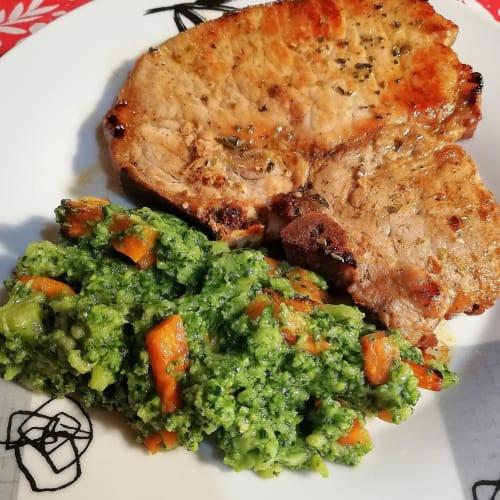 Pan-fried pork steak