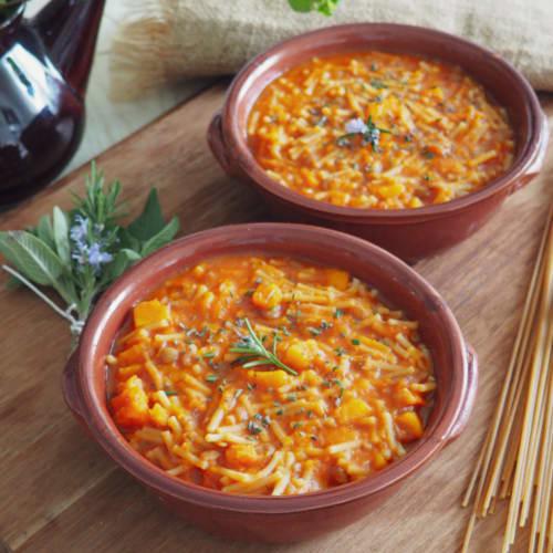 Lentil soup and pumpkin