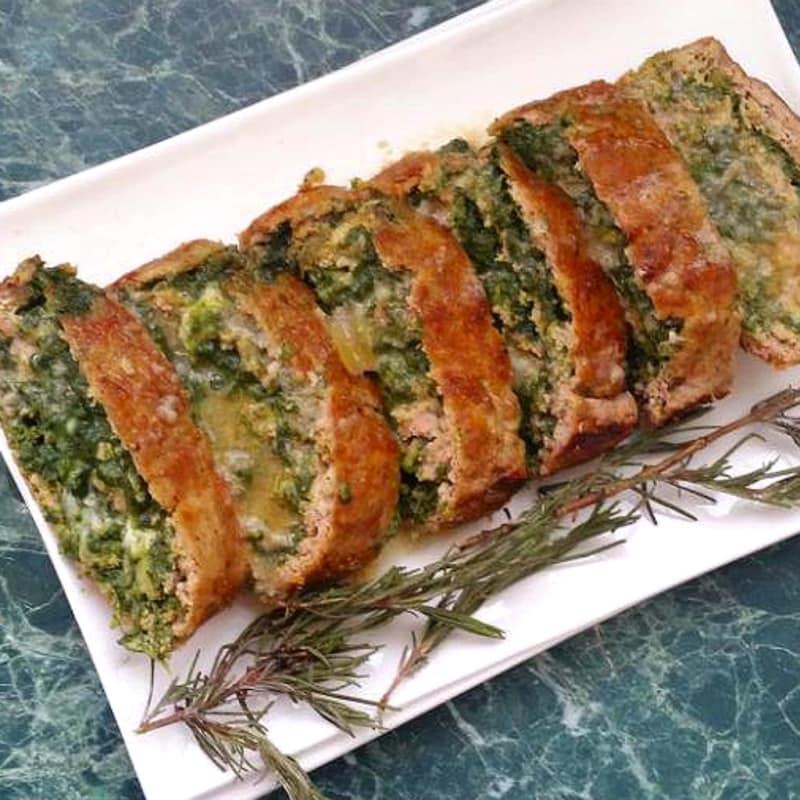 carne asada rellena y espinacas