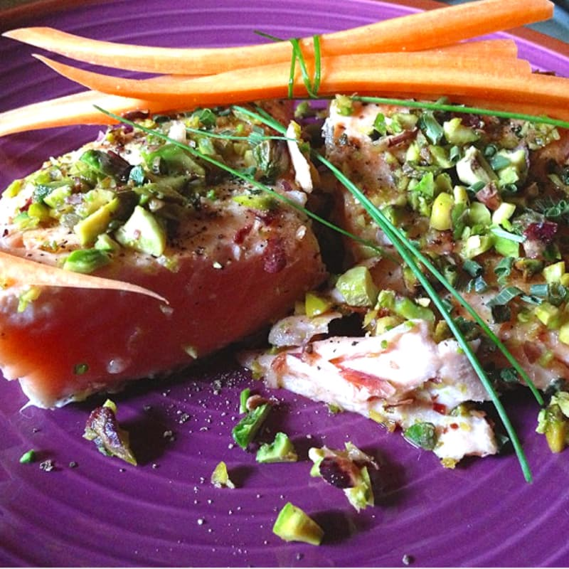 seared salmon fillet with chopped pistachios