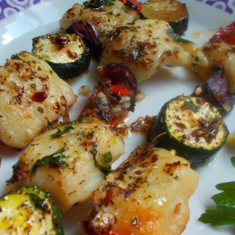 Skewers of gurnard with vegetables