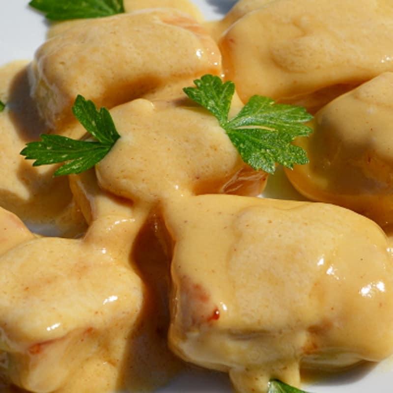 Bocconcini di pollo con panna e olive
