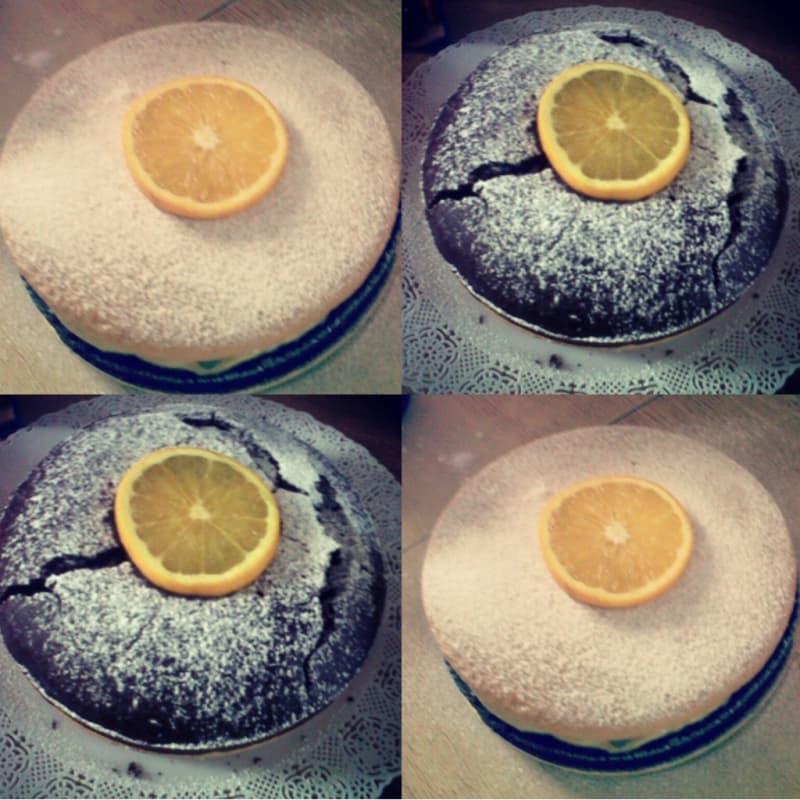 pastel de naranja de dos tonos