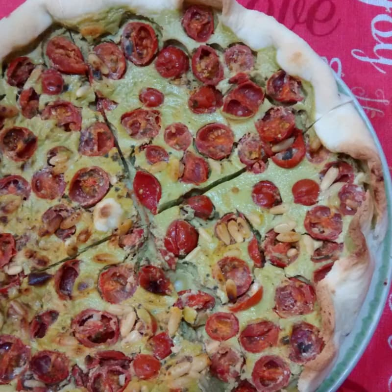 Quiche cherry tomatoes and green beans