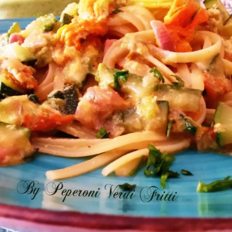 carbonara linguini con verduras