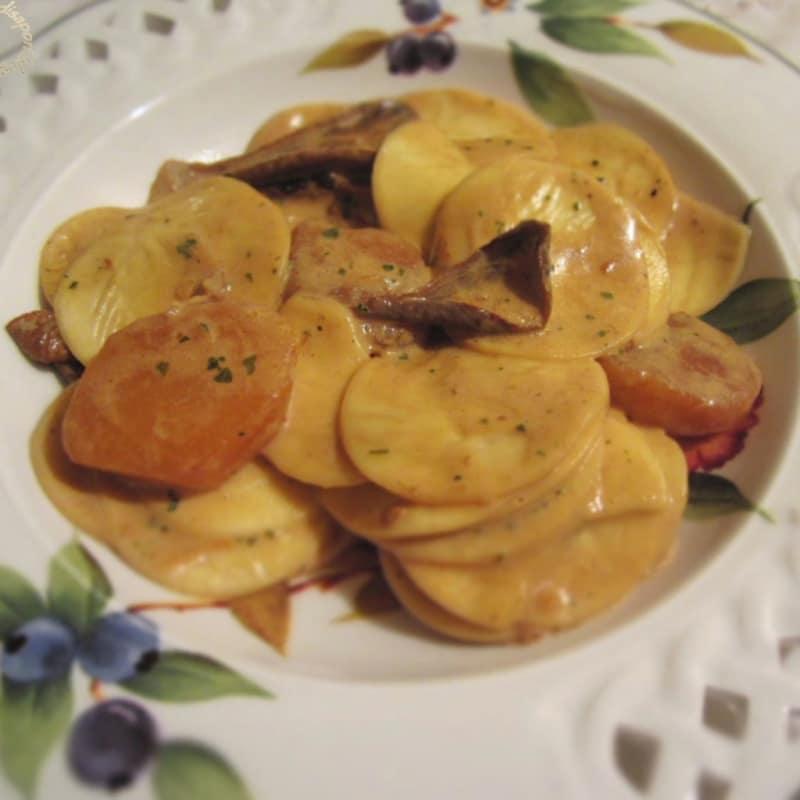 Croxetti en crema con champiñones y patatas