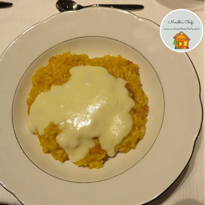 Risotto de calabaza con queso Taleggio y fondue de tocino