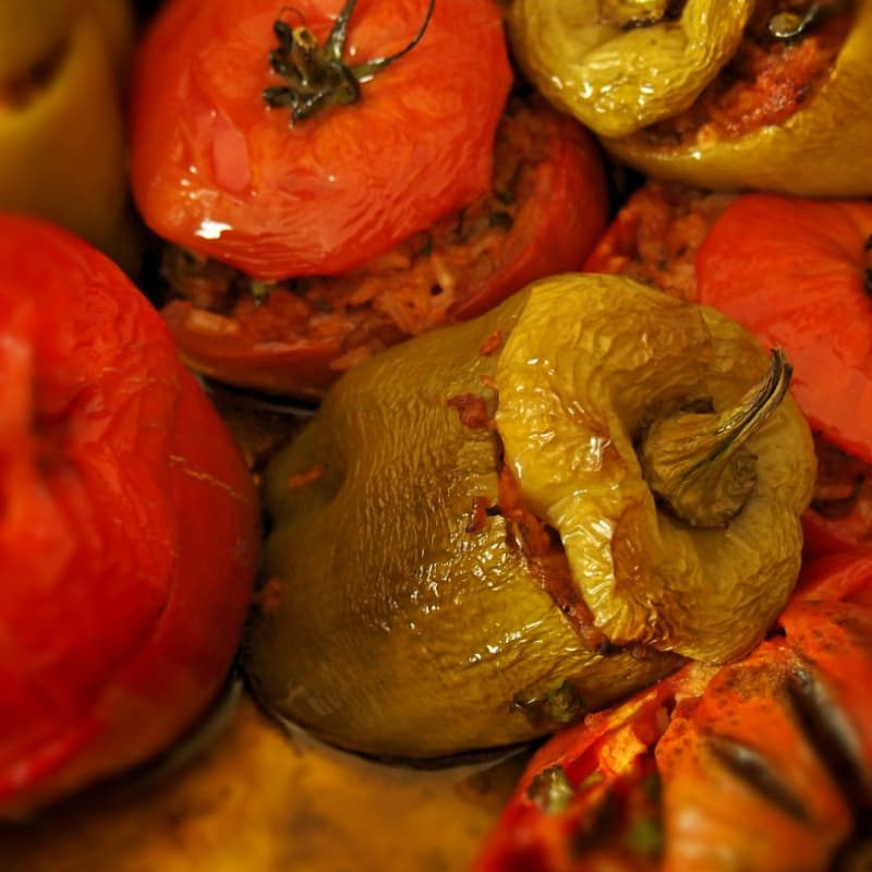 Peppers stuffed with tofu and ginger