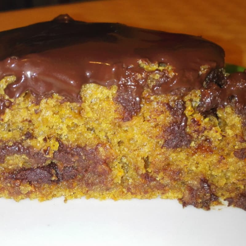 Vegan cake with carrots and dark chocolate