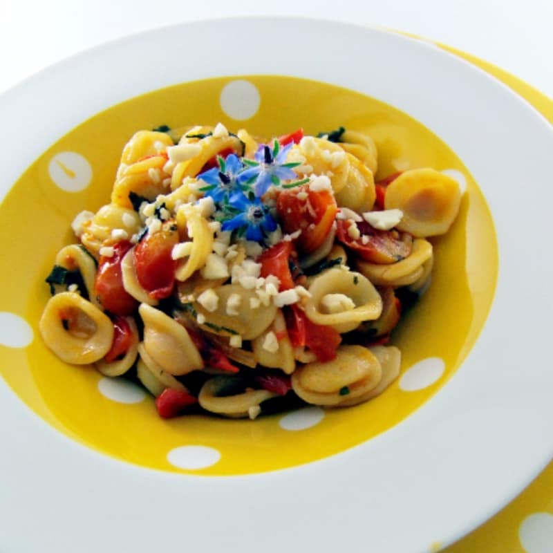 Borage Orecchiette with tomatoes and almonds