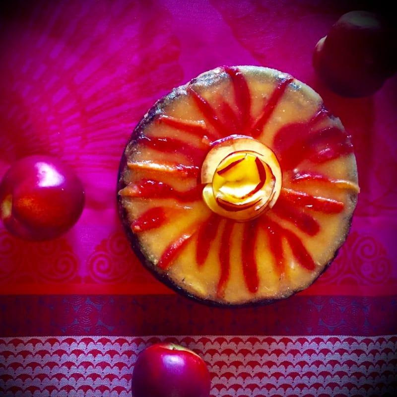 nectarinas melocotones pastel de queso