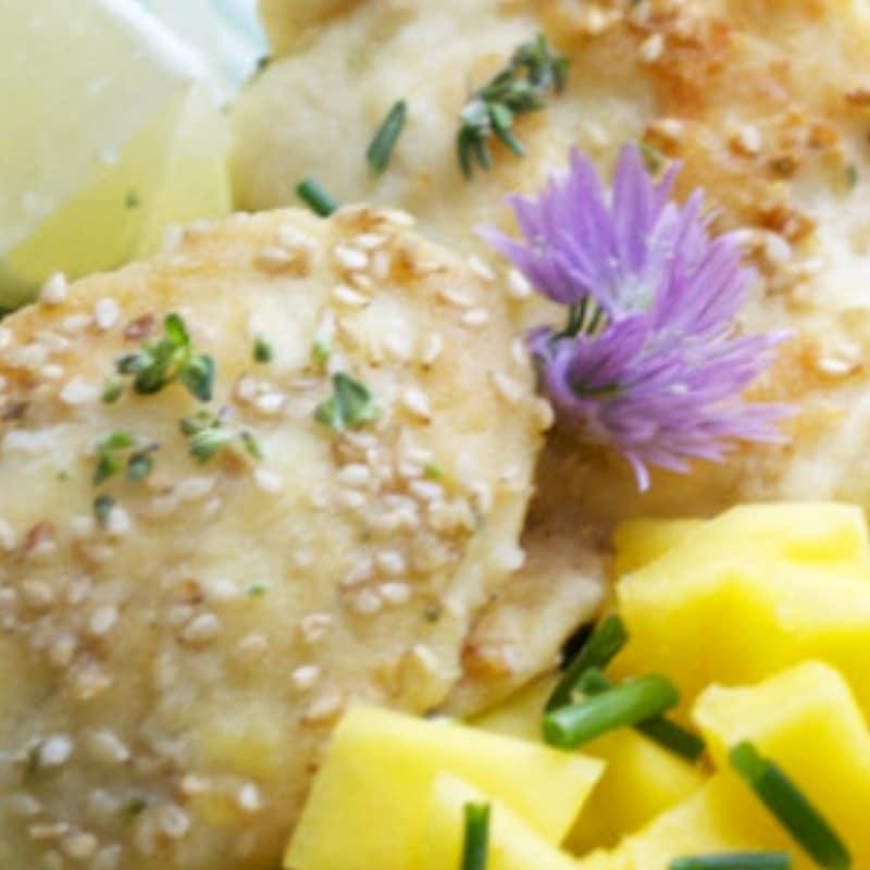 Medaglioni di pollo e mango
