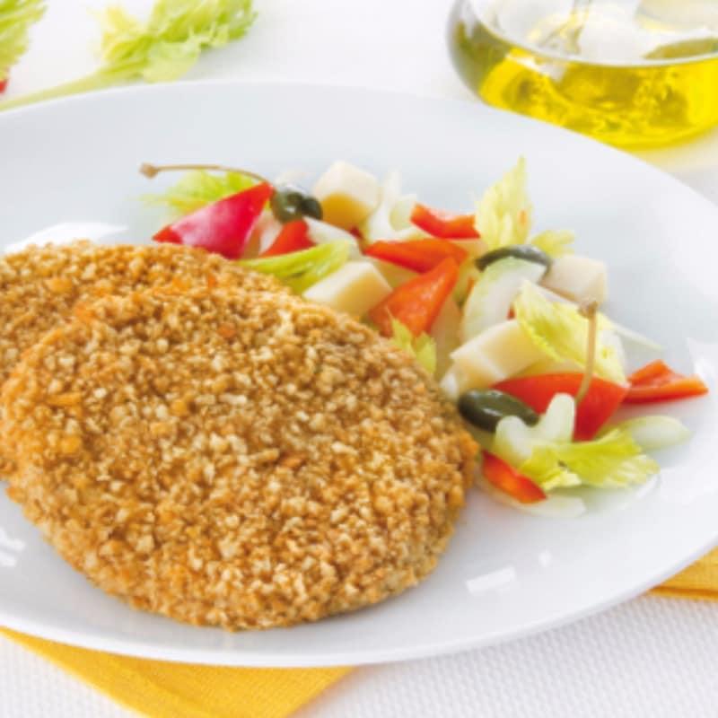 Cotolette di pollo rotonde e verdurine