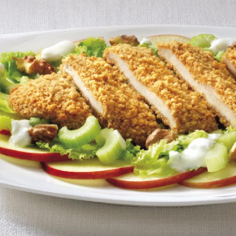 schnitzel de pollo con ensalada de waldfor