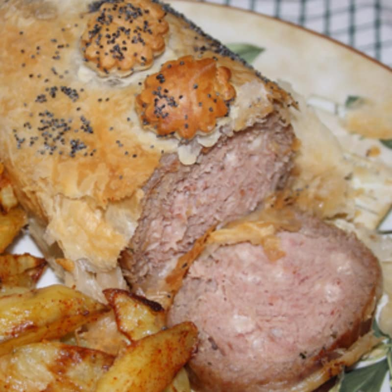 Polpettone in crosta e patate alla paprika