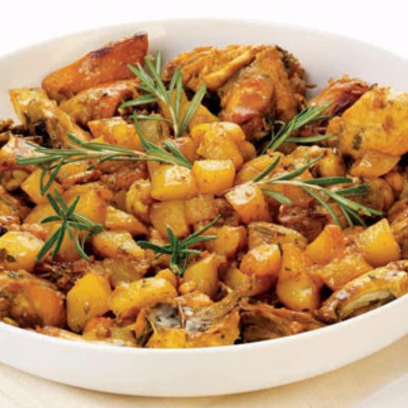 Pollo con salsa de miel y patatas de azafrán