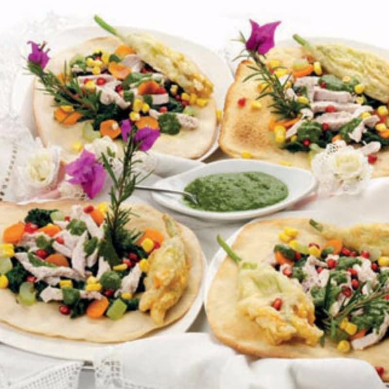 Arlequines de pollo y verduras