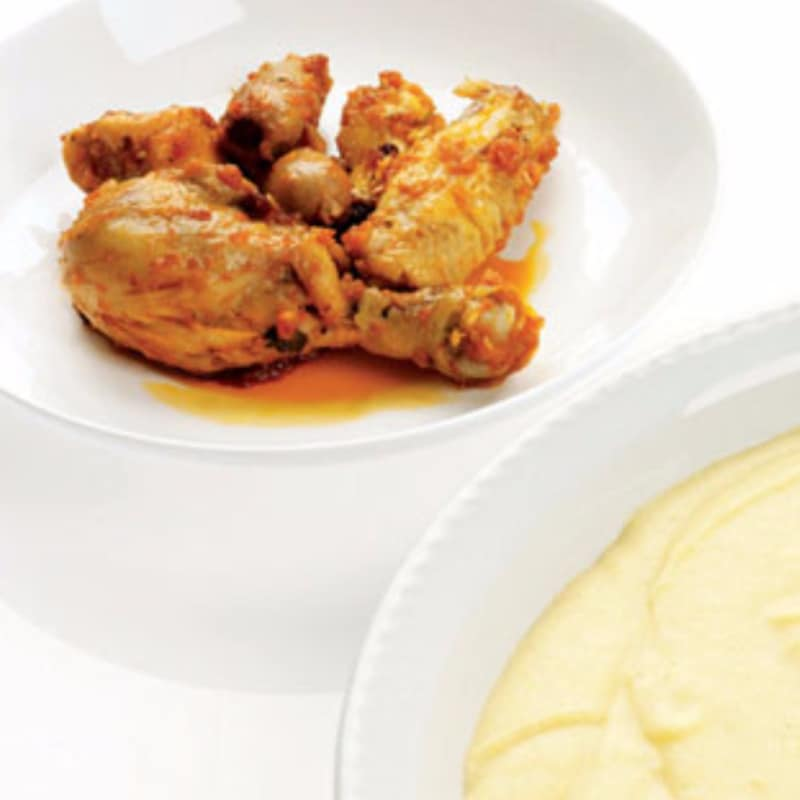 corazón de pollo de polenta