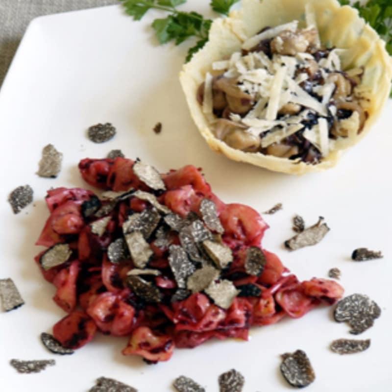 tortellini combo y cappelletti rellenos de remolacha y trufa