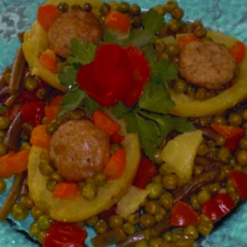 Albóndigas con verduras y patatas
