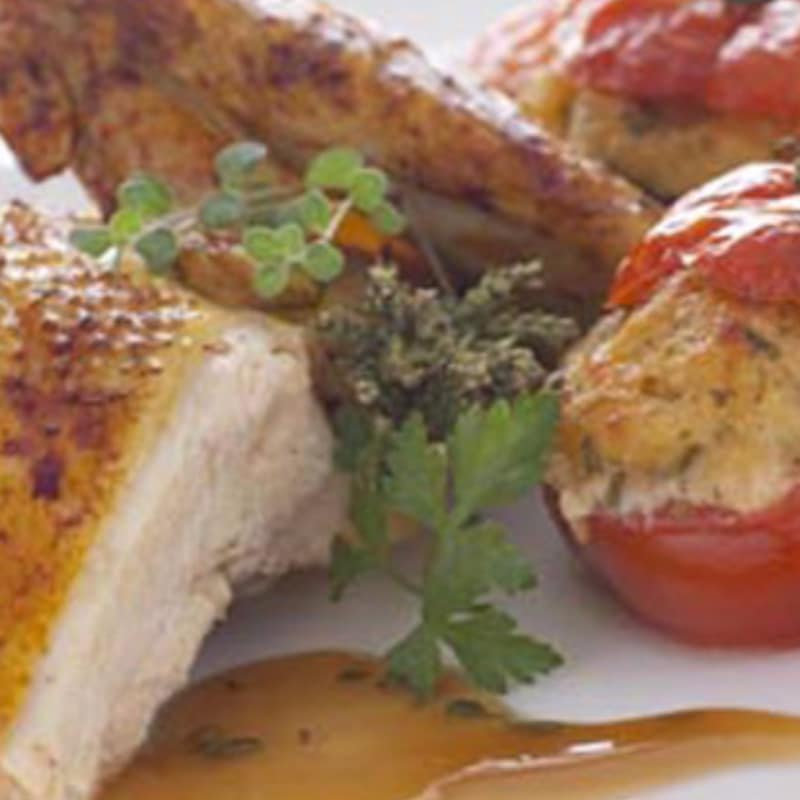 Chicken stuffed with tomatoes au gratin