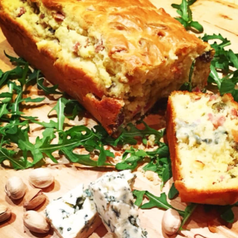Plumcake mortadela pistacho y gorgonzola