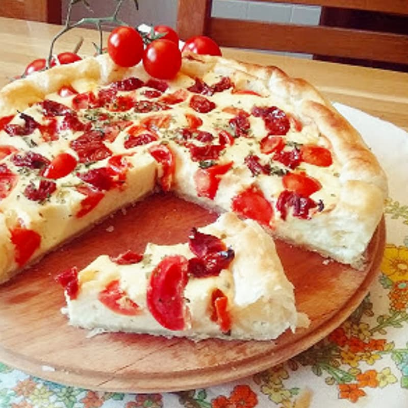 Quiche dos tomates con queso cottage y yogur griego
