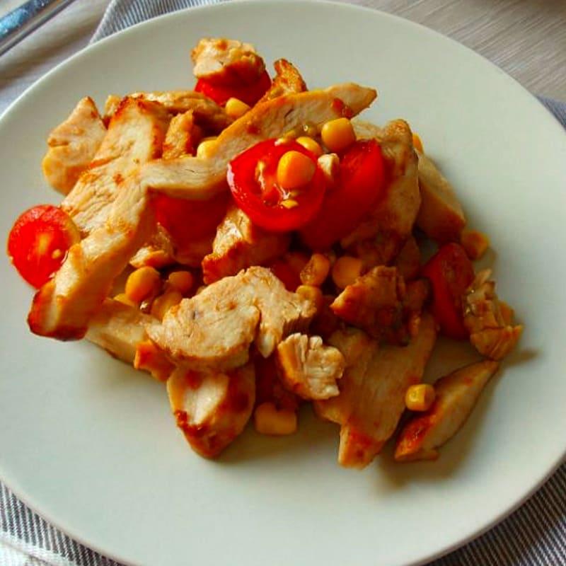 Chicken steak with corn cherry tomatoes and balsamic vinegar
