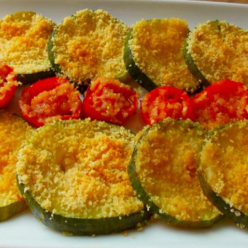 potatoe calabacín y tomates al horno