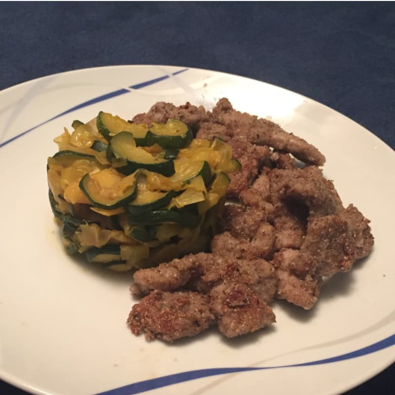 Strips of crispy veal with saffron courgettes