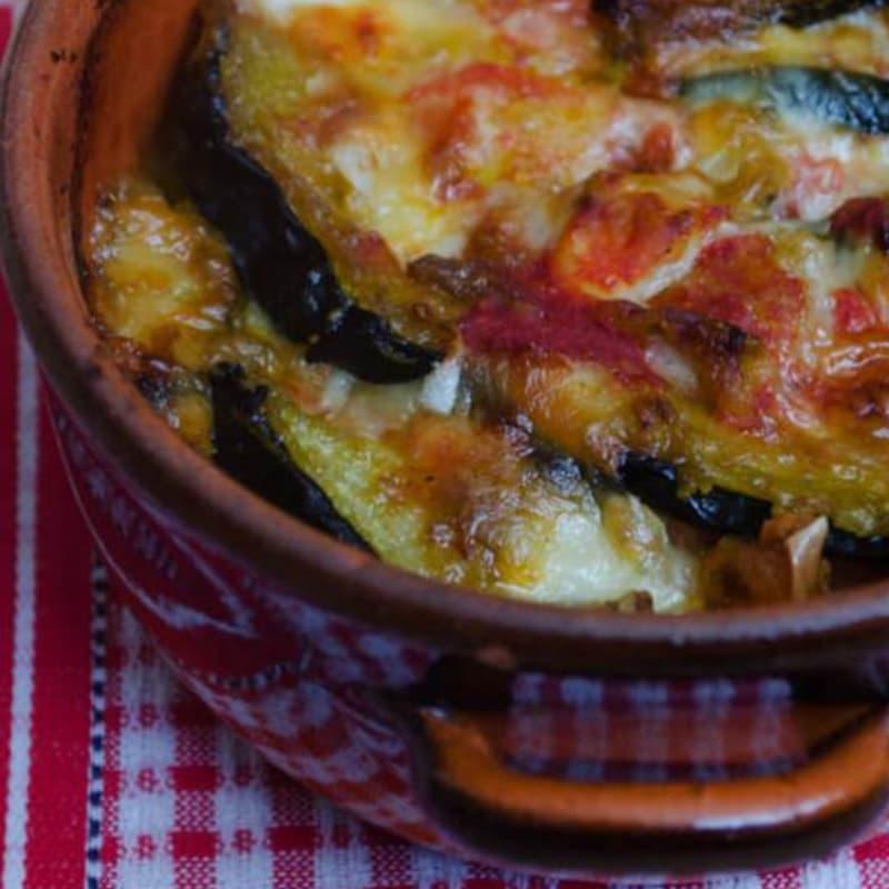 Parmigiana de calabacín frito