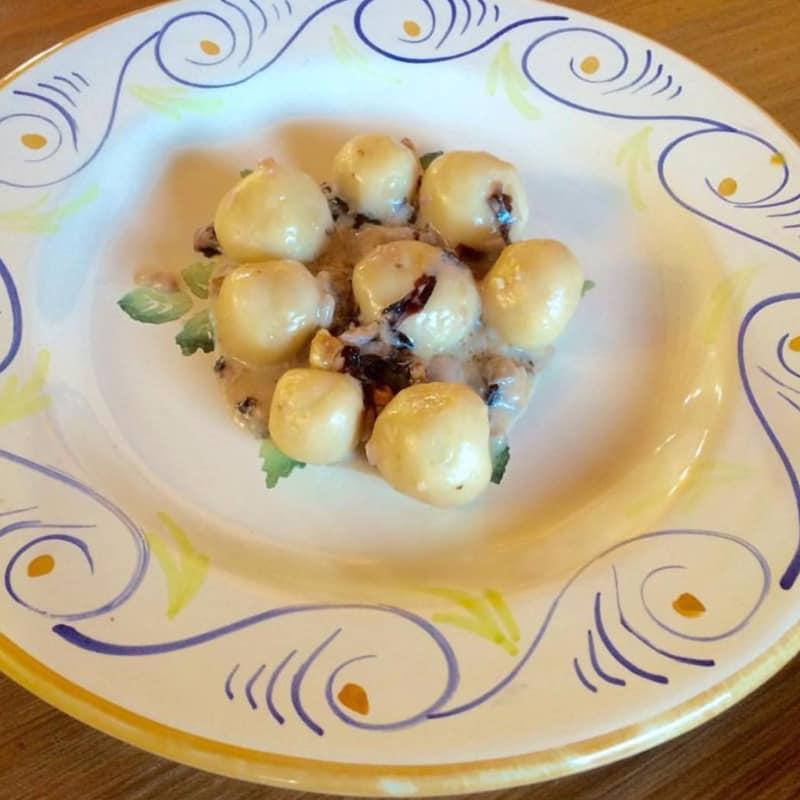 Ñoquis rellenos de queso gorgonzola con salsa de vino tinto, achicoria y NOC