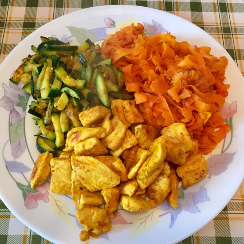 Pieces of golden chicken with carrots and zucchini