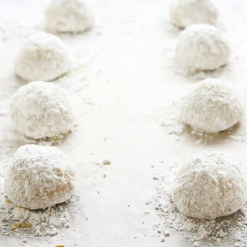Nueces bolas de nieve nieve galletas galletas