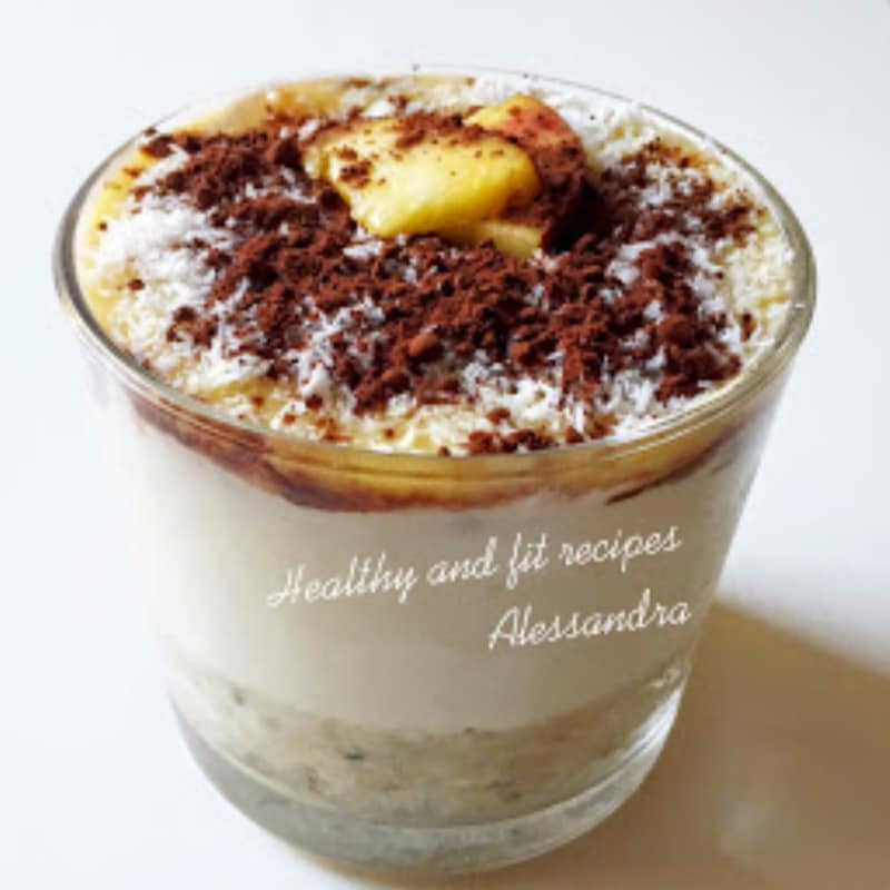 Dolce layered with peach, cocoa, honey and coconut