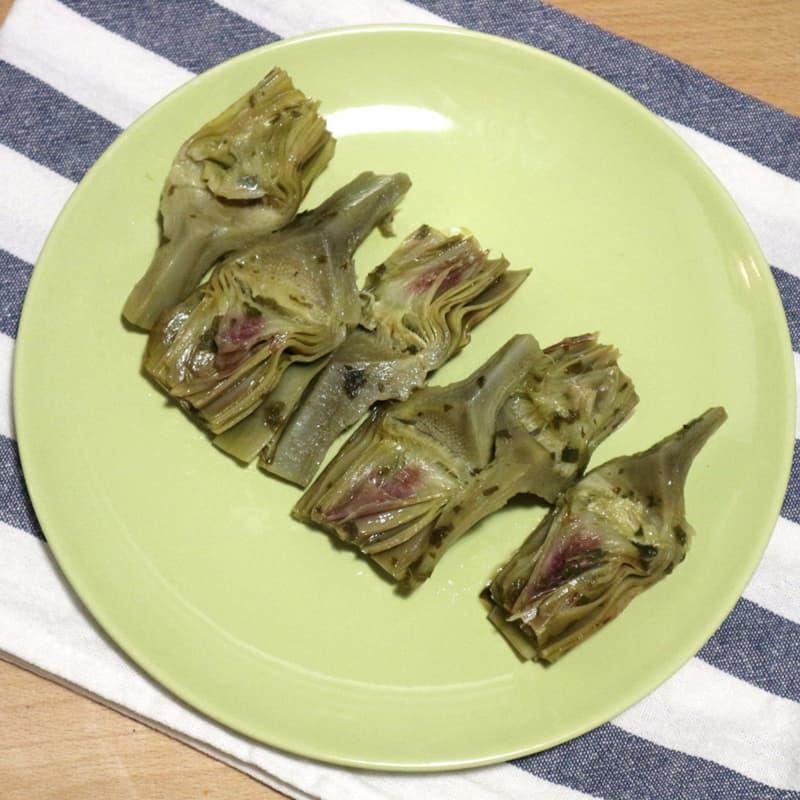 alcachofas de Cerdeña en la sartén