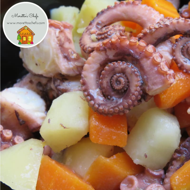 Octopus salad, carrots, potatoes and ginger