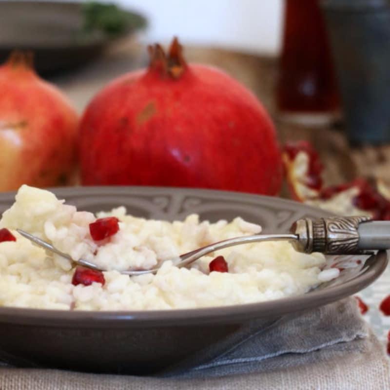 coliflor arroz, la granada y mascarpone