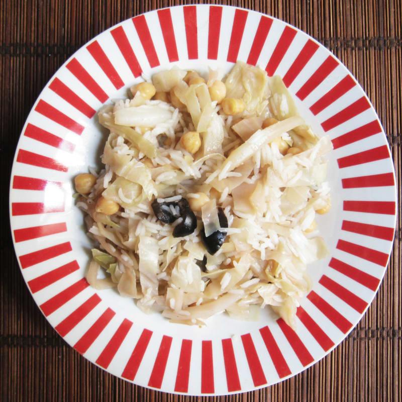 Basmati arroz y col garbanzos