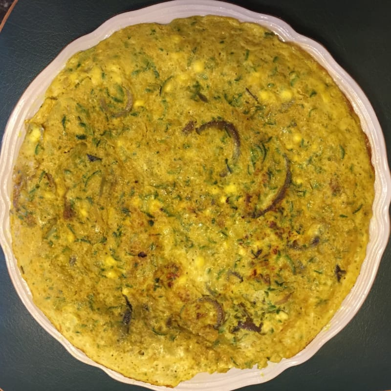 Frittatona creamy whites turmeric with zucchini and flowers