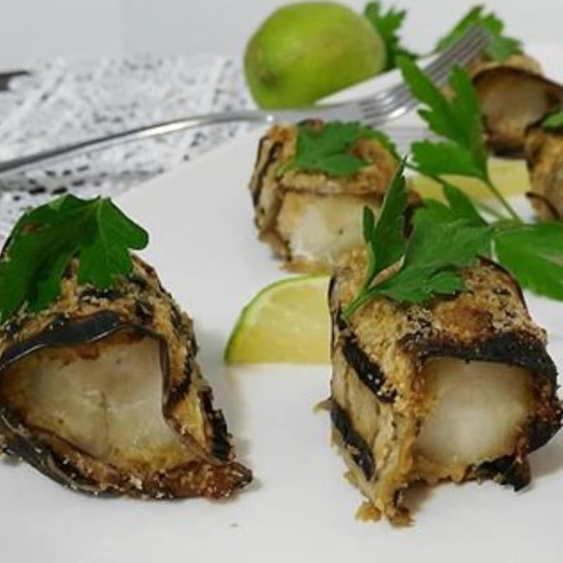 Chunks of cod crusted eggplant