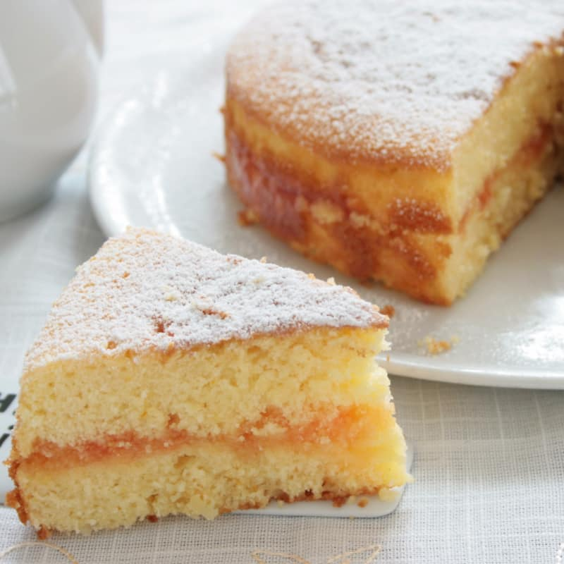 soft cake with orange heart