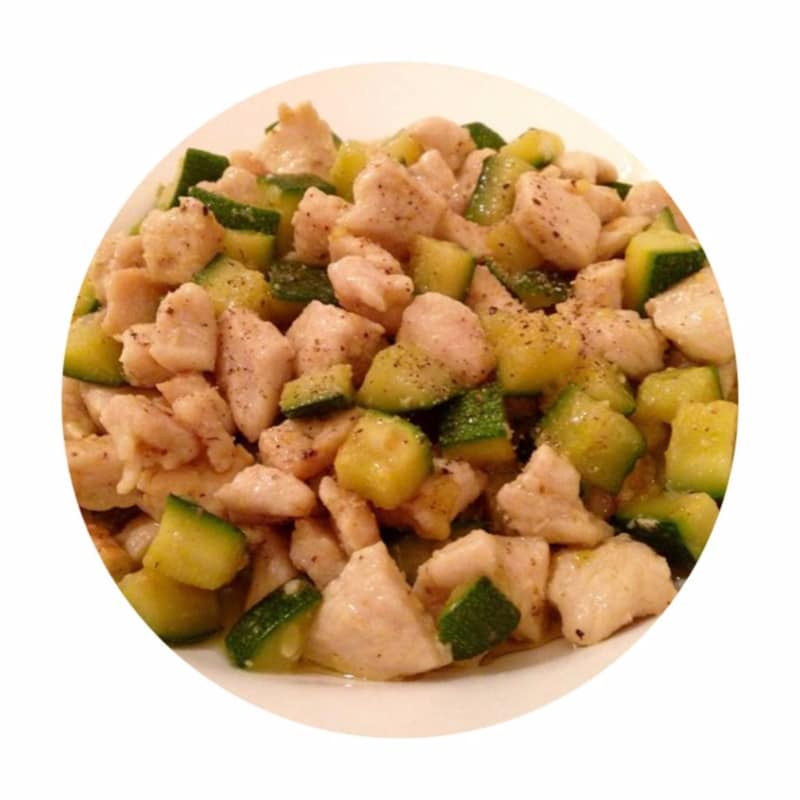 Diced chicken and zucchini