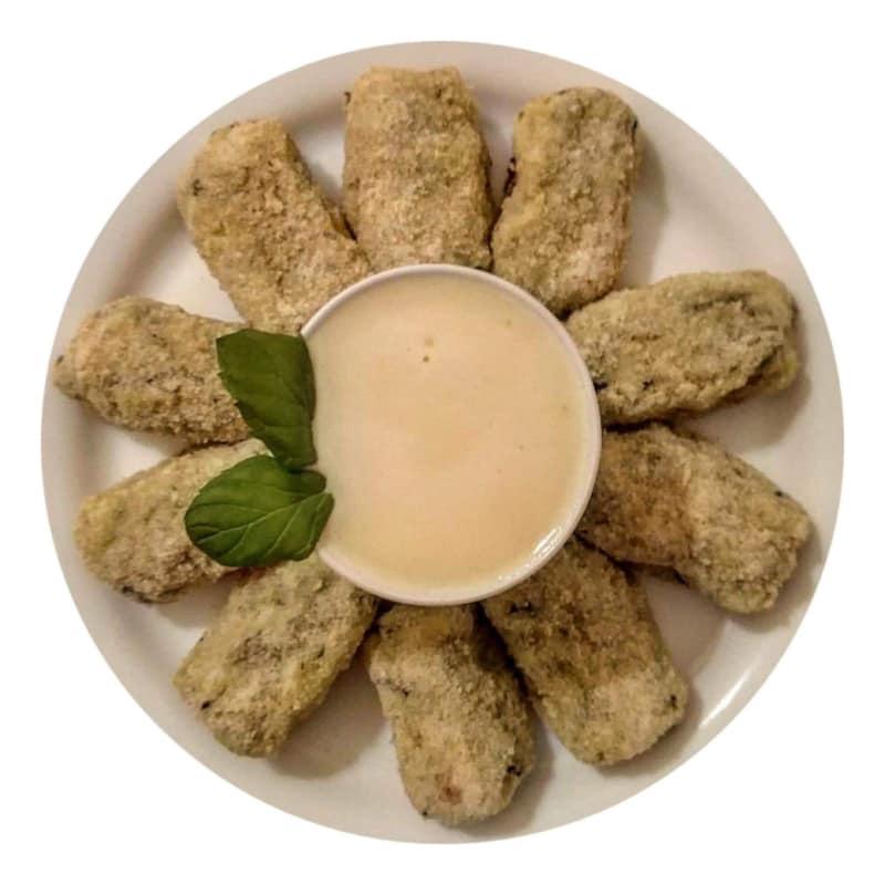 croquetas de patata y calabacín con queso parmesano sabayón