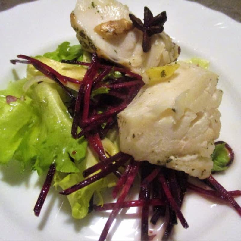 Trancio di merluzzo marinato al pompelmo rosa e spezie
