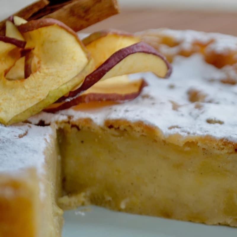 tarta de manzana cremosa vegetariana